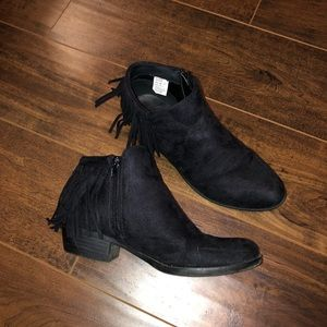 Black Ankle Boots with fringe detail
